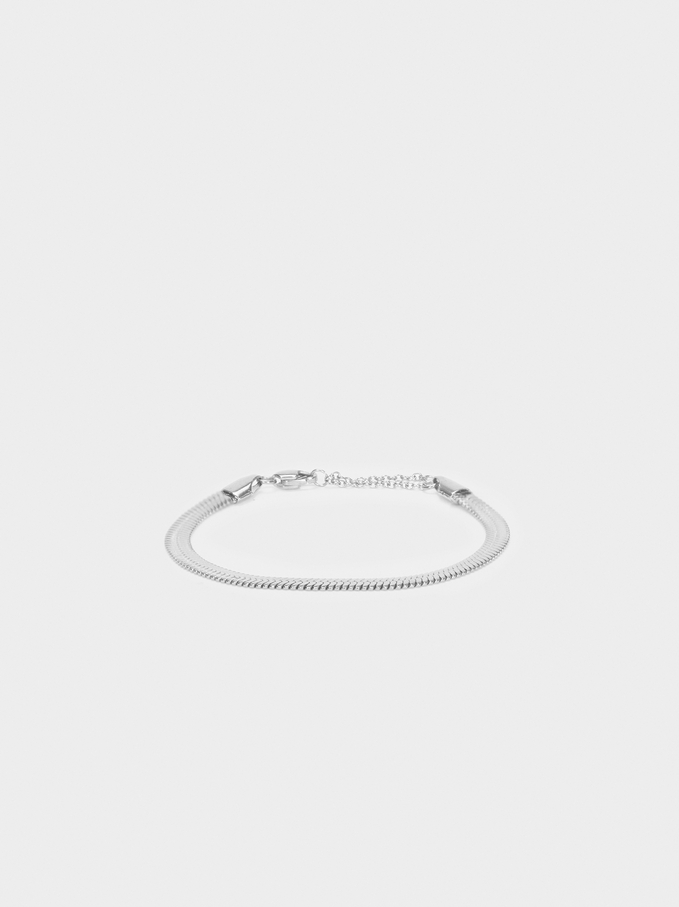 Stainless Steel Silver Bracelet, Silver, hi-res