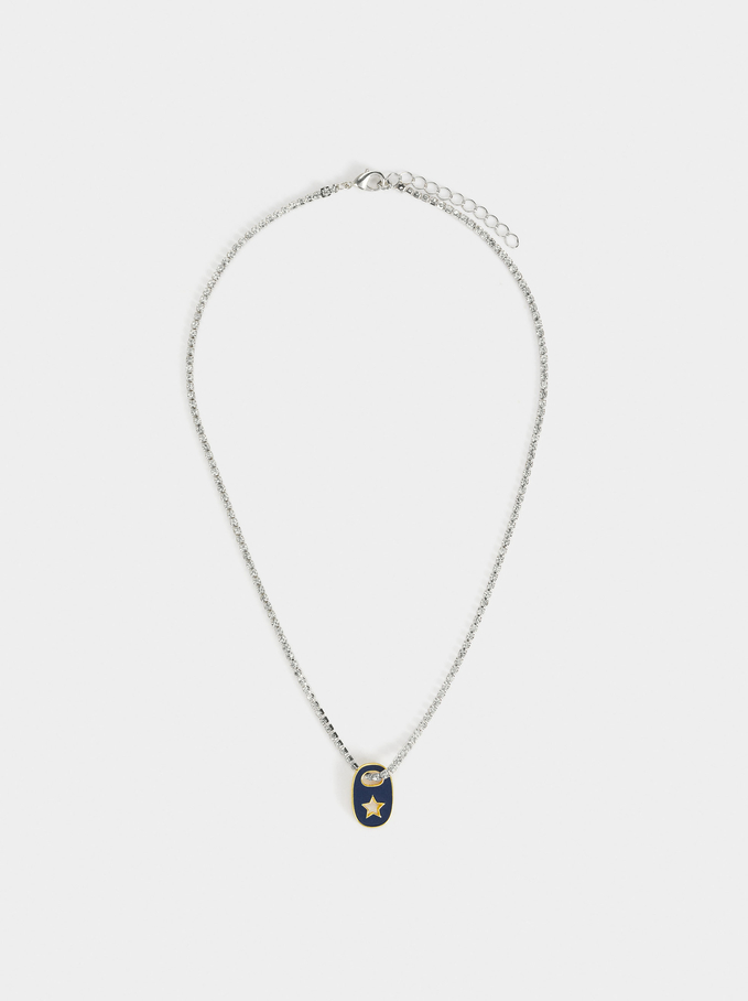 Short Necklace With Charm, Navy, hi-res