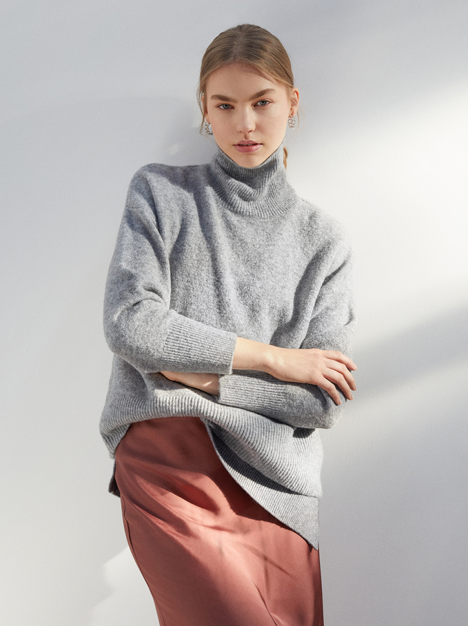 Knitted High Neck Sweater, Grey, hi-res