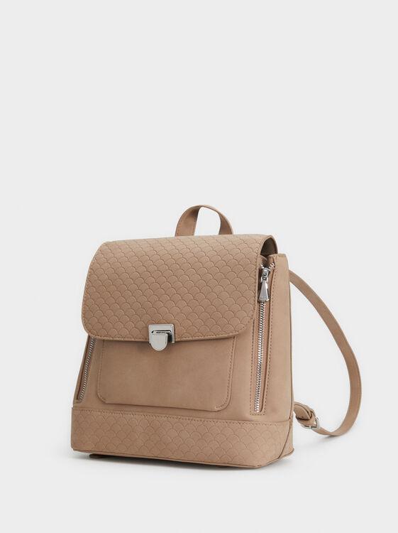 Embossed Backpack, Brown, hi-res
