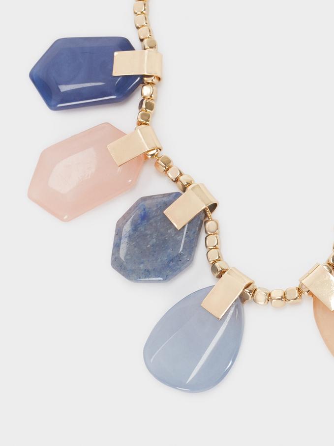 Short Necklace With Multicoloured Stones, Multicolor, hi-res