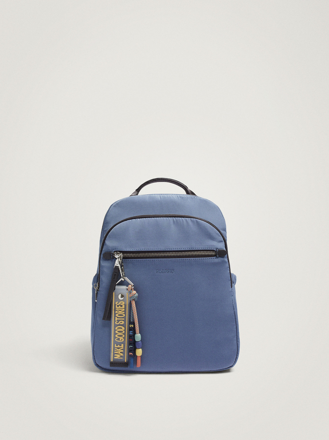 Nylon Backpack With Pendant, Blue, hi-res