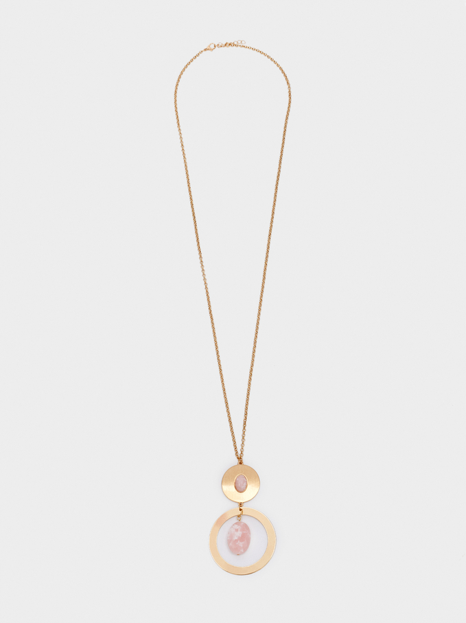 Long Gold Necklace With Stone, Pink, hi-res