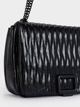 Quilted Crossbody Bag With Metallic Detailing, Black, hi-res