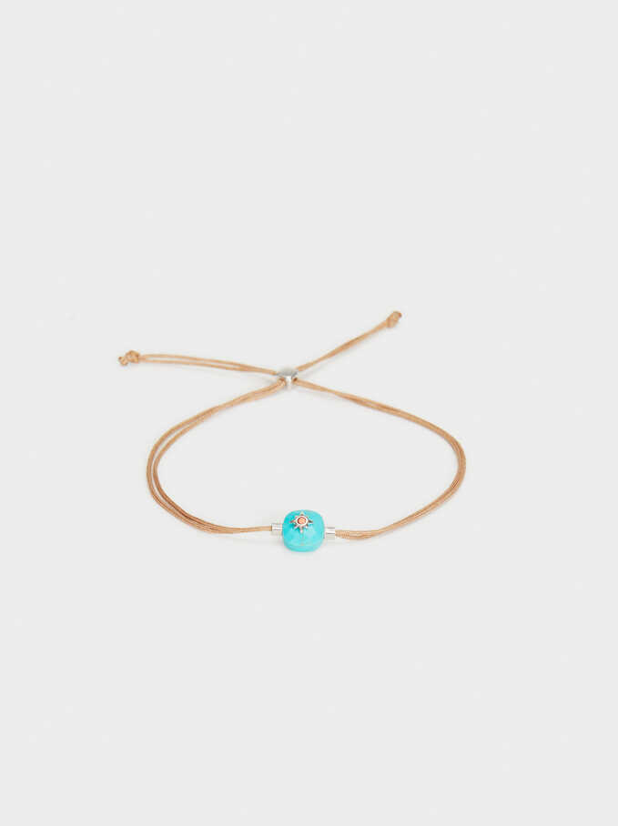 925 Silver Adjustable Bracelet With Stone, Blue, hi-res