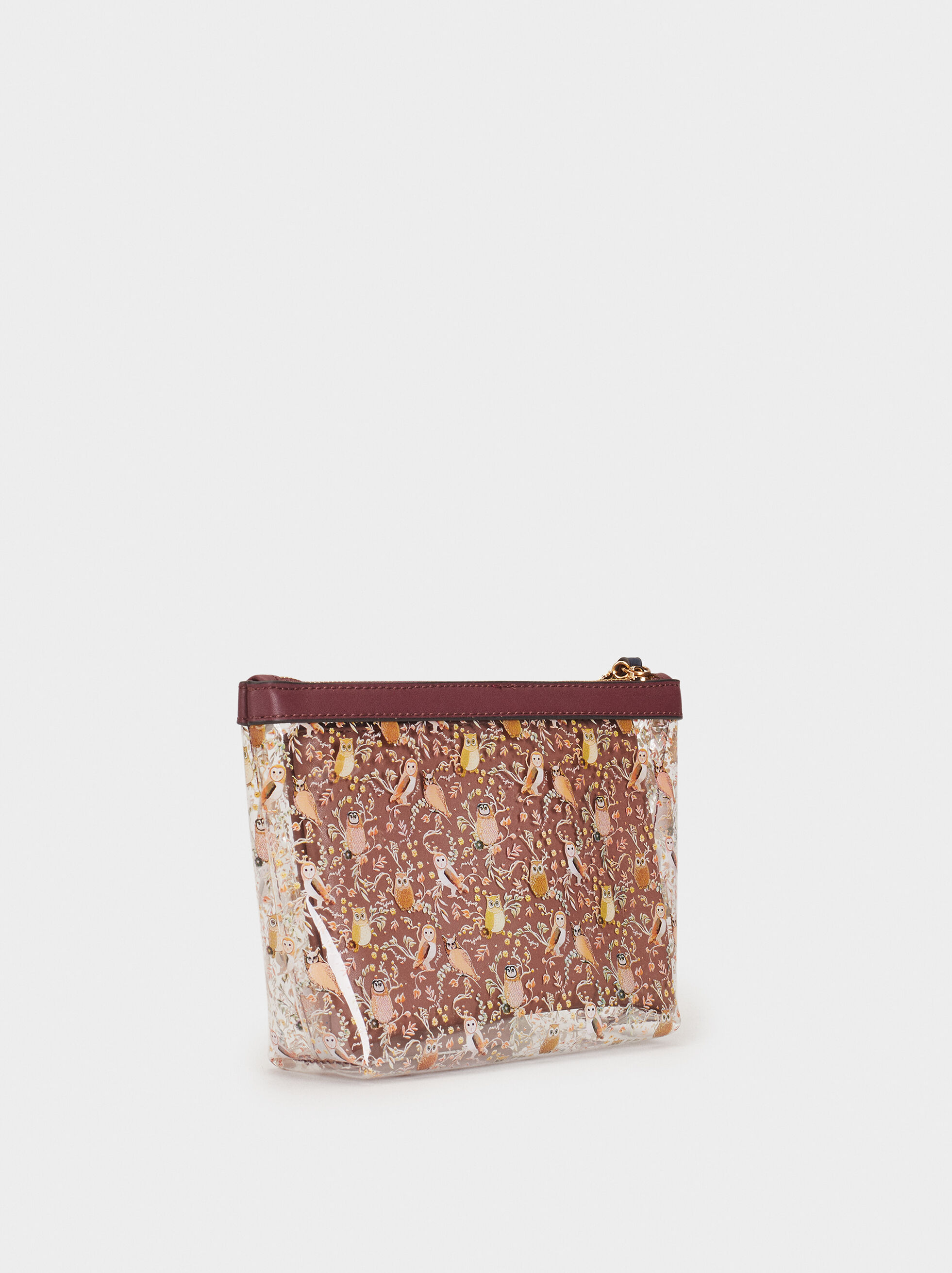 Owl Print Multi-Purpose Bag, Bordeaux, hi-res