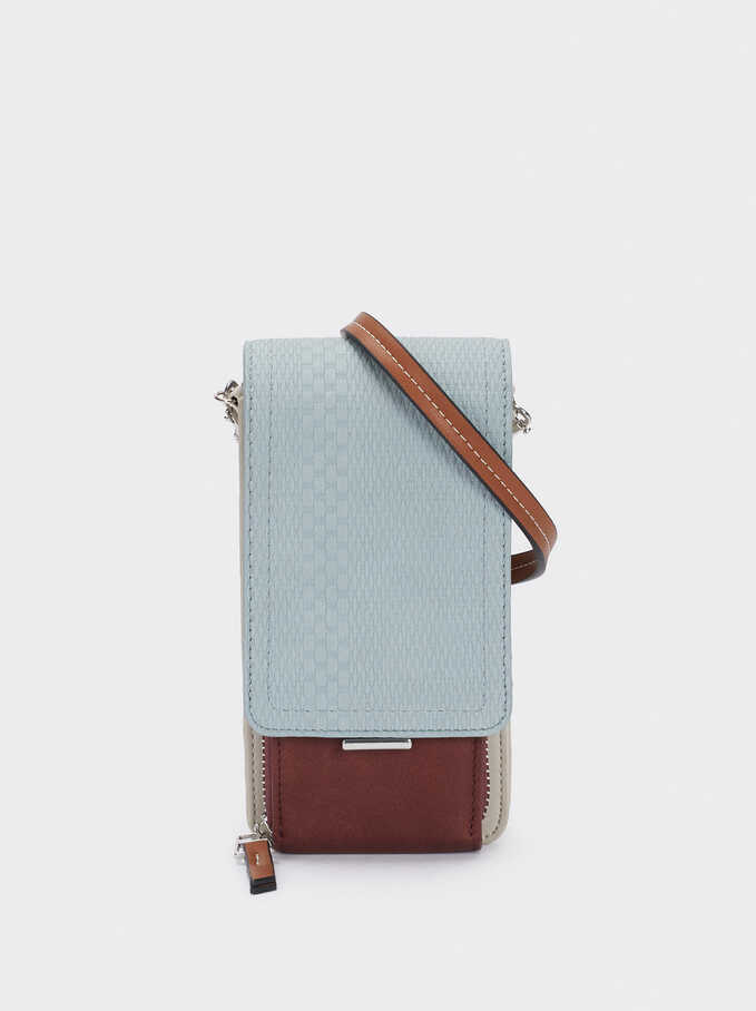 Combined Phone Case With Shoulder Strap, Blue, hi-res