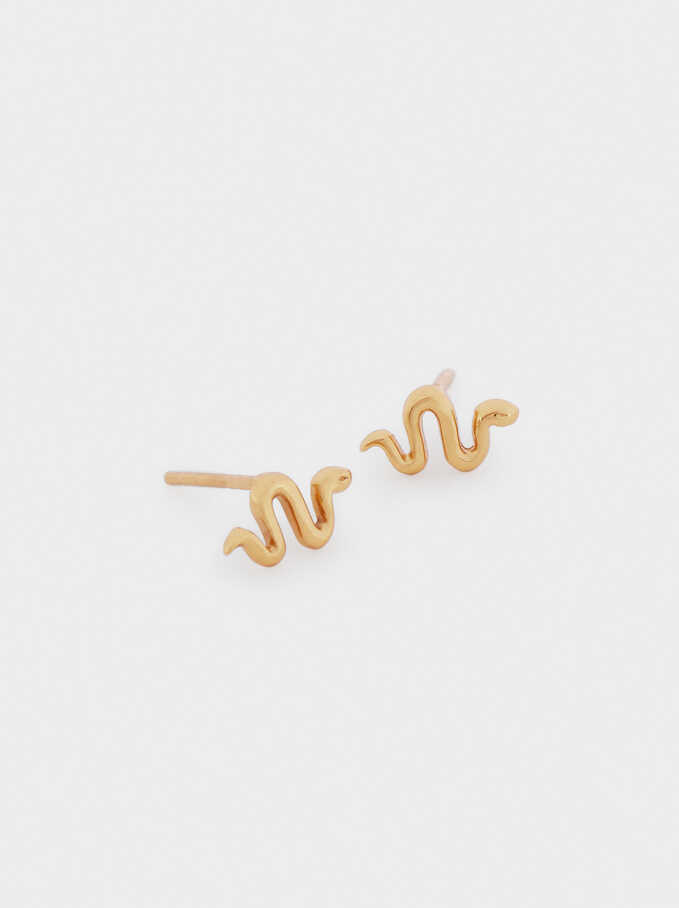 Short 925 Silver Snake Earrings, Golden, hi-res