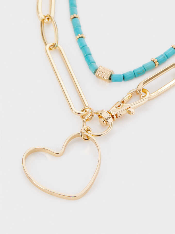 Hoop Fever Necklace Set, Blue, hi-res