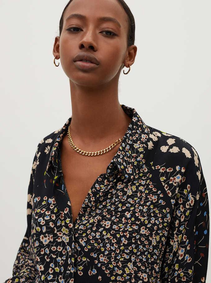 Camisa Fluida Estampado Floral, Negro, hi-res