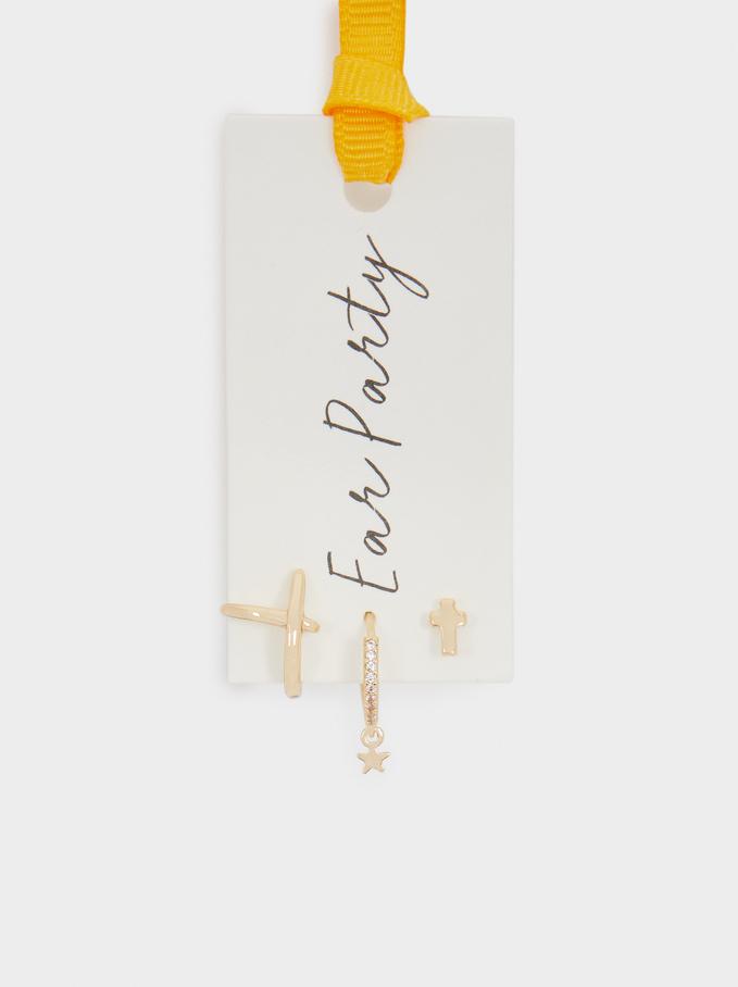 Gold Hoop Earrings With Cross, Golden, hi-res