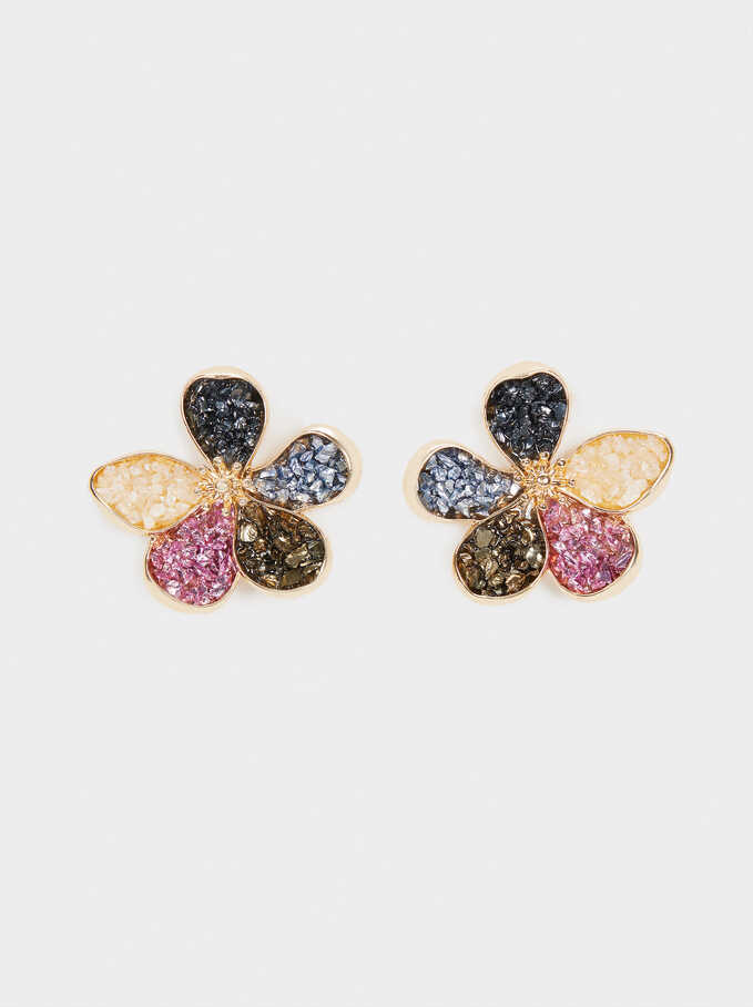 Short Flower Earrings With Crystals, Multicolor, hi-res