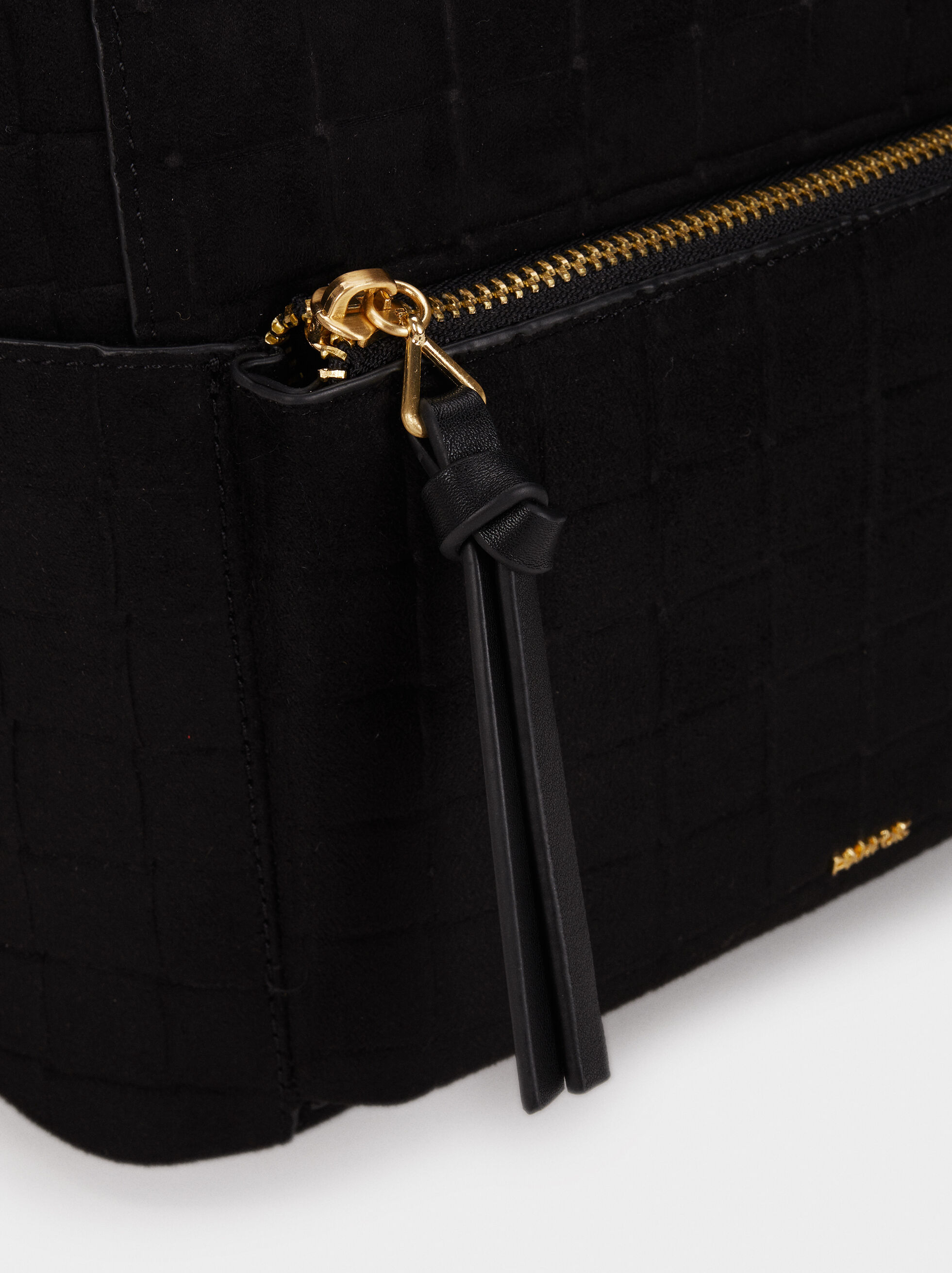 Suede Texture Backpack, Black, hi-res