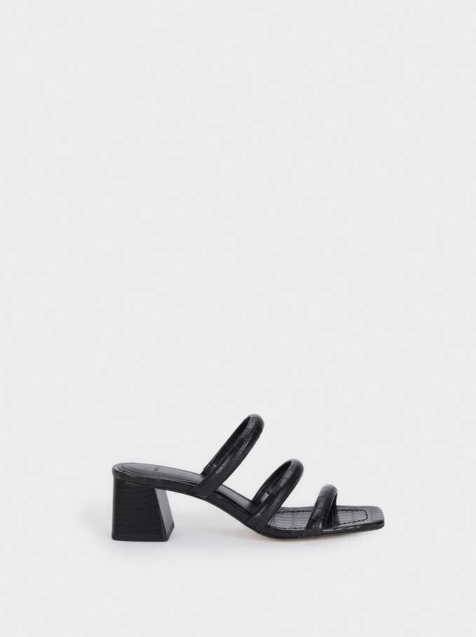 High-Heel Sandals With Animal Print Straps, Black, hi-res