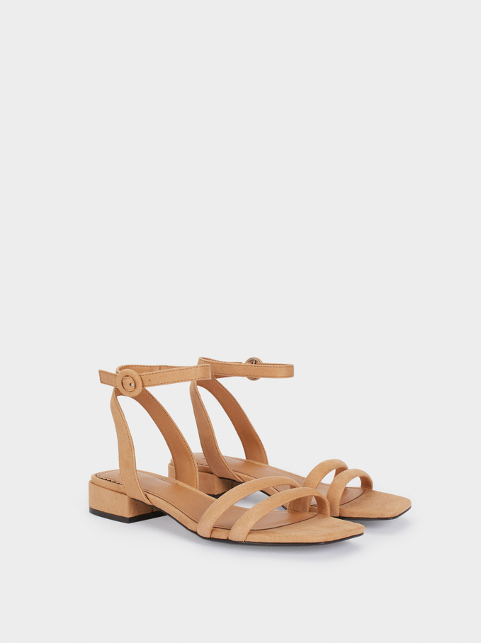 Flat Sandals With Ankle Strap, Beige, hi-res