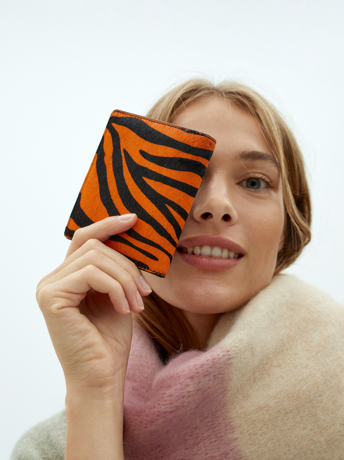 Compact Leather Wallet With Print, Orange, hi-res