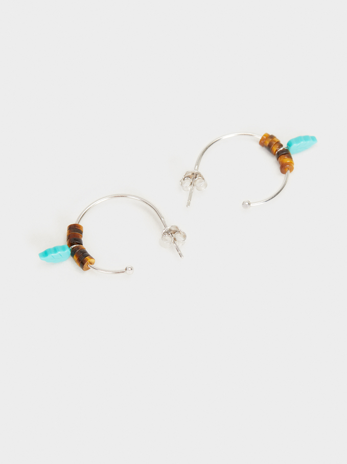 925 Silver Small Beaded Hoop Earrings, Blue, hi-res