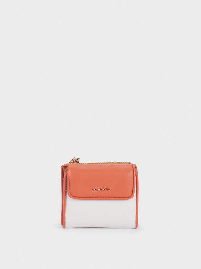 Compact Purse With Front Flap Fastening, Orange, hi-res