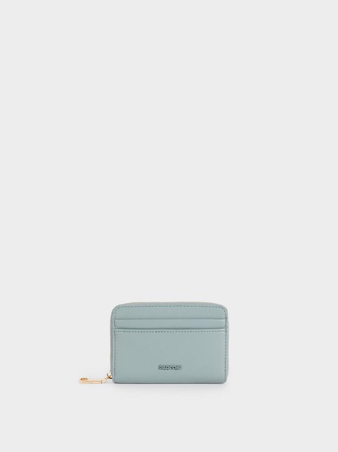Portefeuille Compact À Fermeture Éclair, Bleu, hi-res