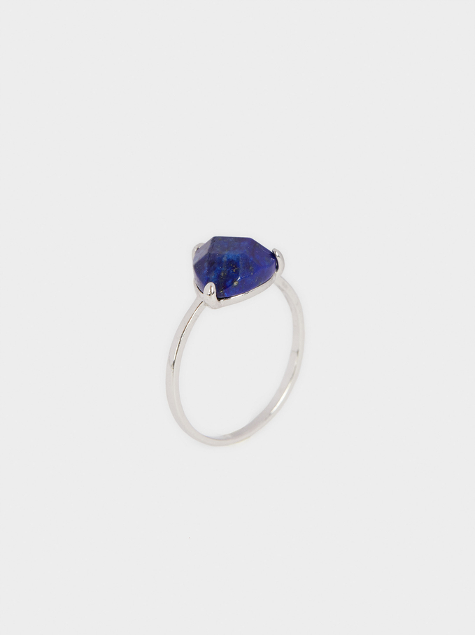 Silver 925 Ring With Stone, Blue, hi-res