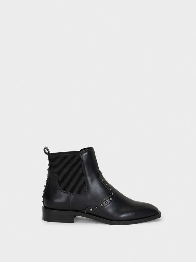 Studded Ankle Boots, Black, hi-res