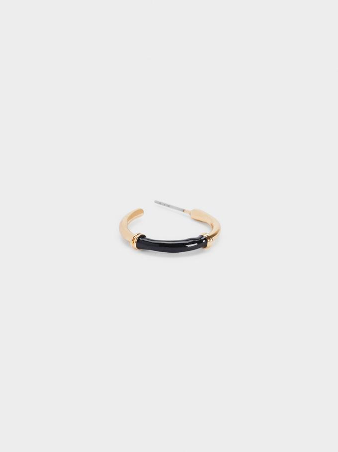 Enamel Hoop Earrings, Golden, hi-res