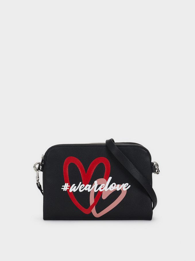 We Are Love Print Shoulder Bag, Black, hi-res