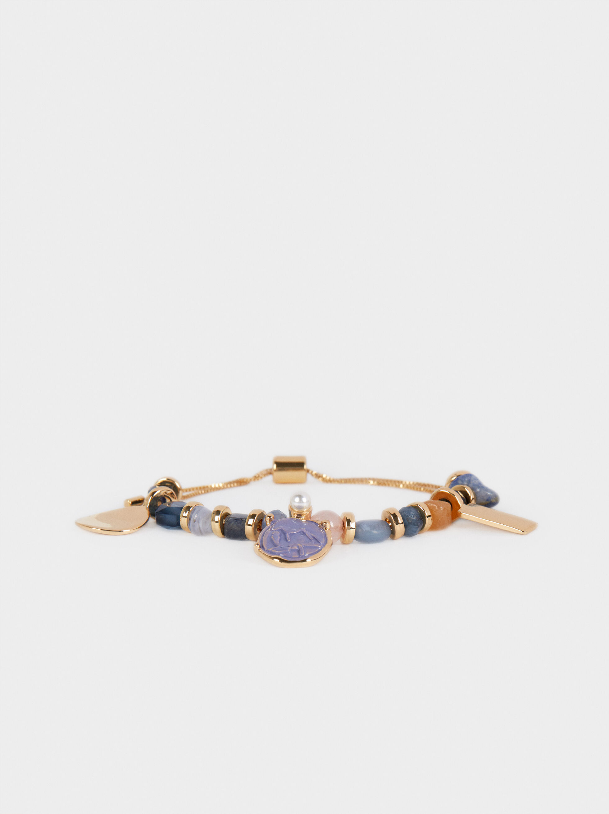 Adjustable Gold Bracelet With Gems, Multicolor, hi-res