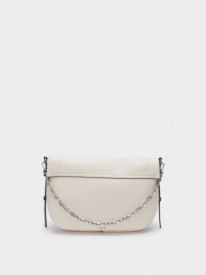 Crossbody Bag With Front Flap Fastening, Ecru, hi-res