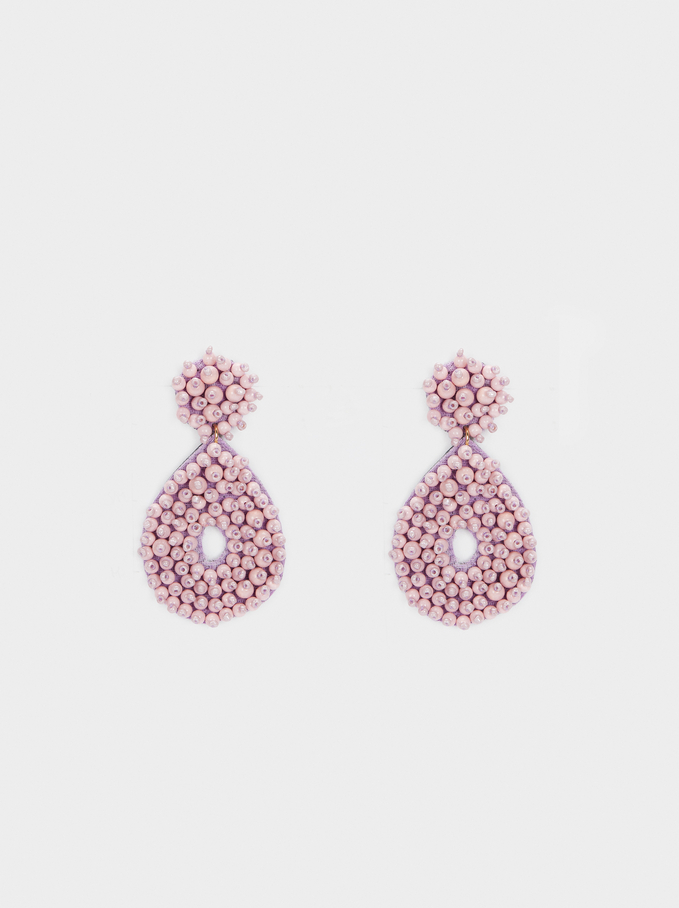 Earrings With Beads, Violet, hi-res