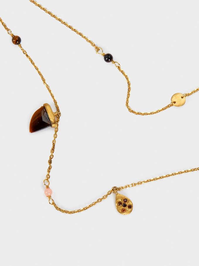 Collar De Plata 925 Con Cuerno Y Colgantes, Multicor, hi-res