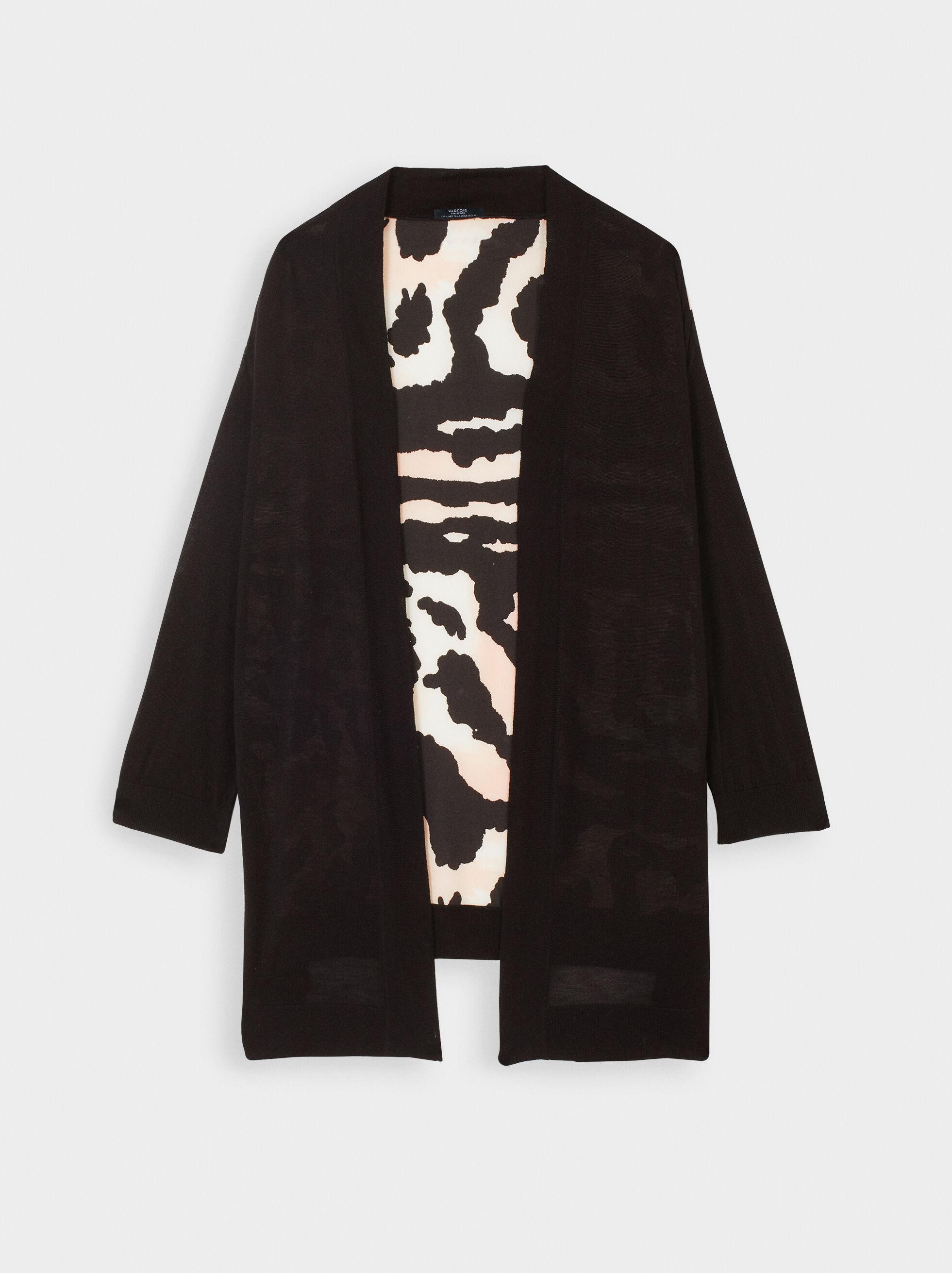 Knit Cardigan, Black, hi-res