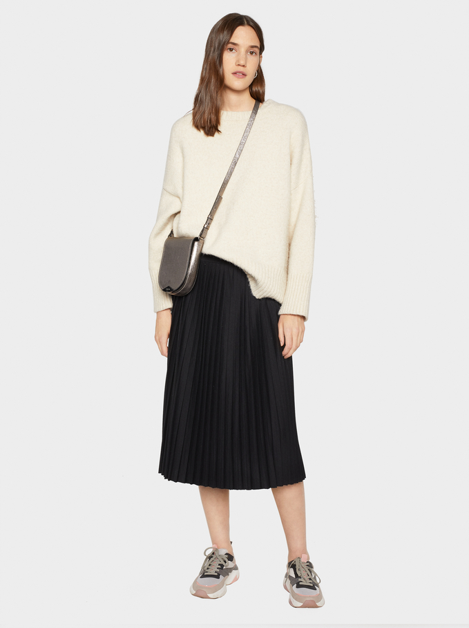 Plain Pleated Skirt, Black, hi-res