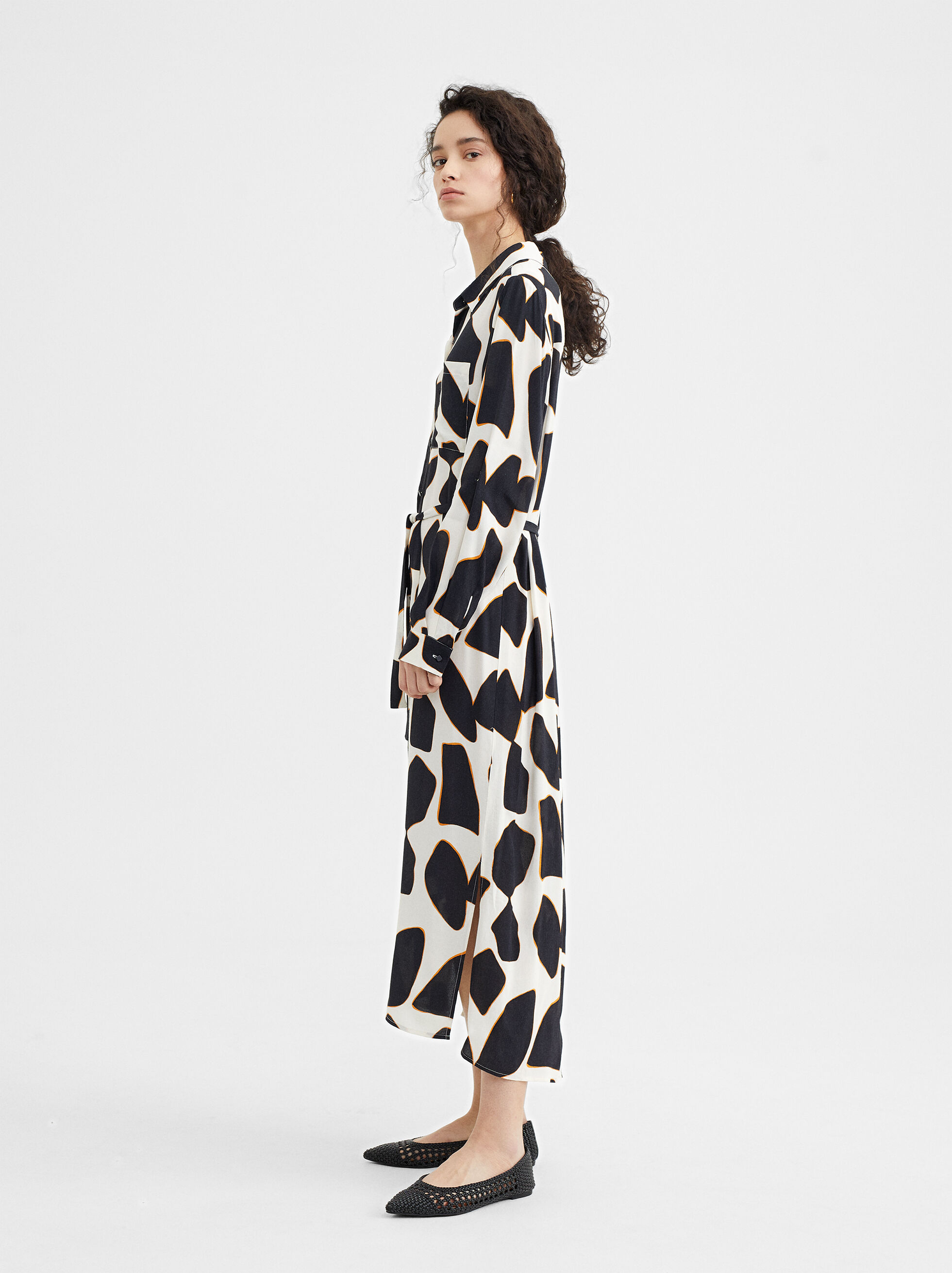 Printed Shirt Dress, , hi-res