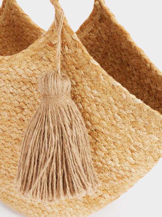 Woven Shoulder Bag With Pendant, Beige, hi-res