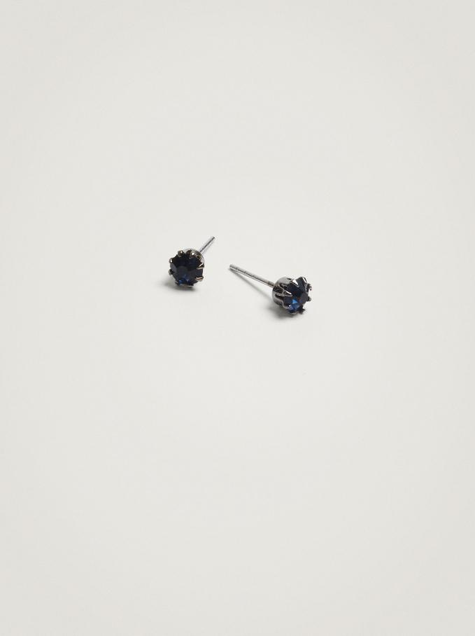 Pendientes Cortos Con Cristal, Azul, hi-res