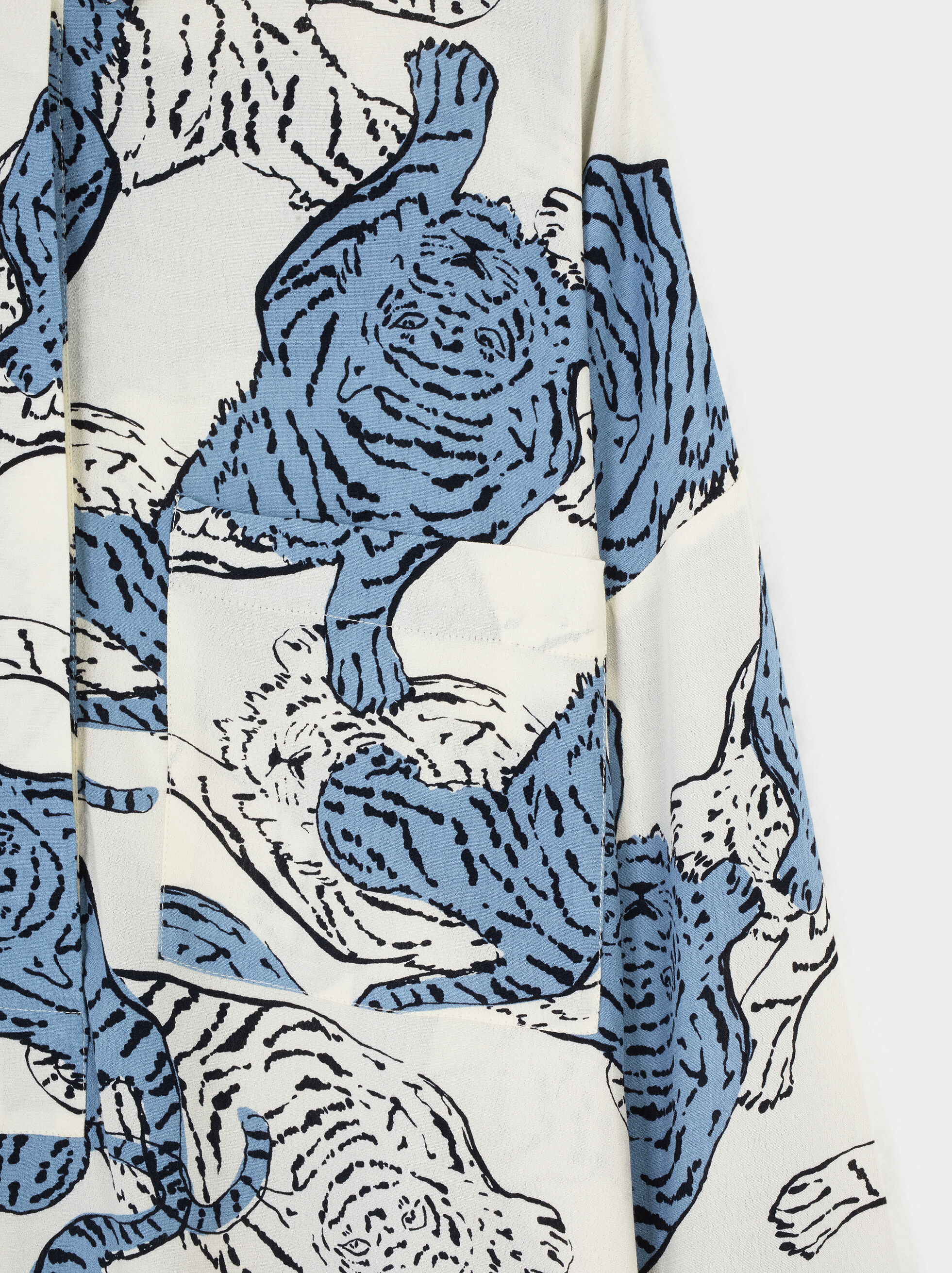 Flowing Animal Print Shirt, White, hi-res