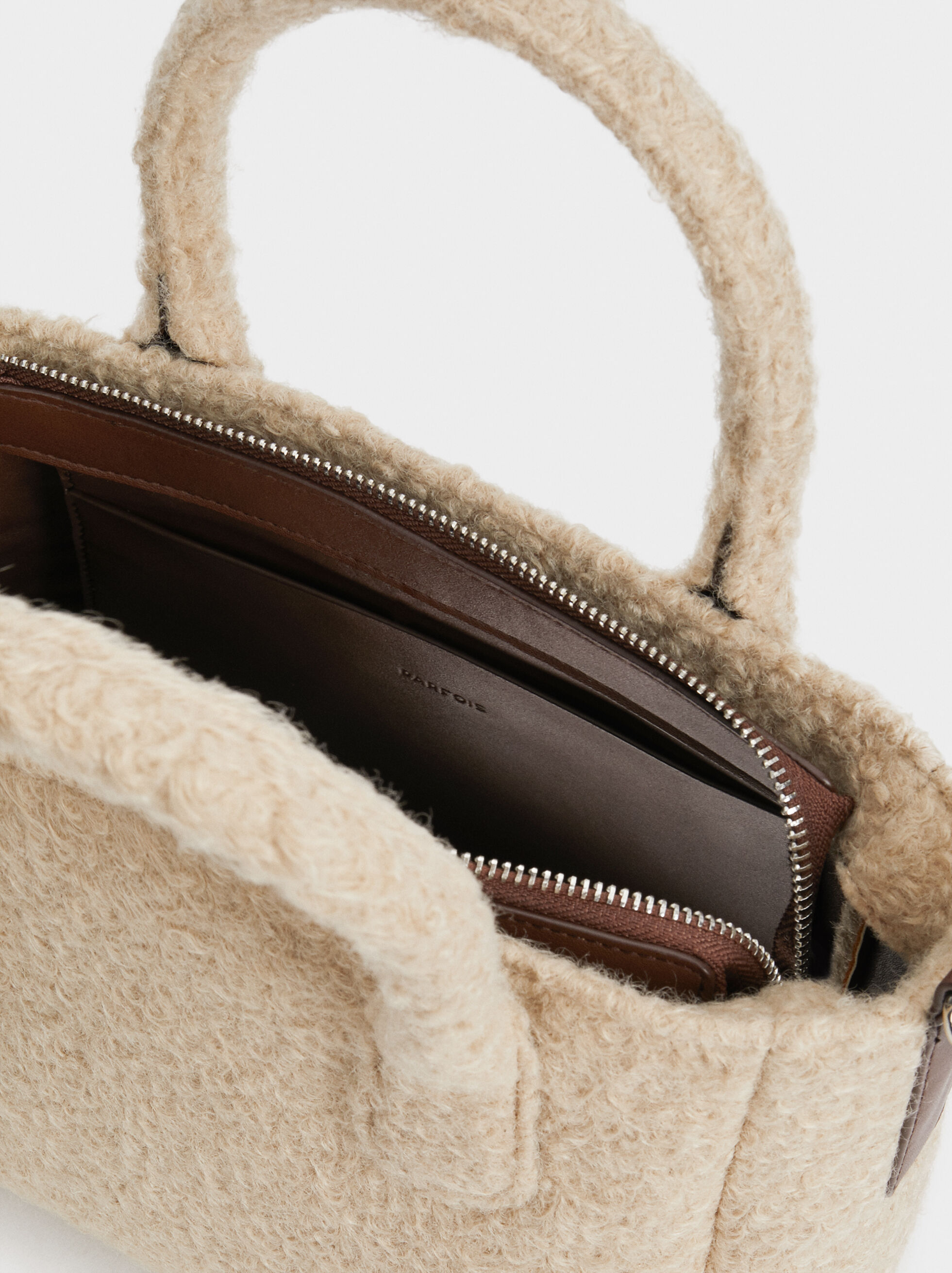 Faux Shearling Tote Bag, Brown, hi-res