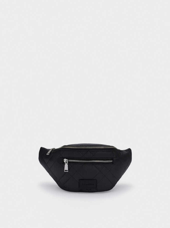 Nylon Crossbody Belt Bag, Black, hi-res