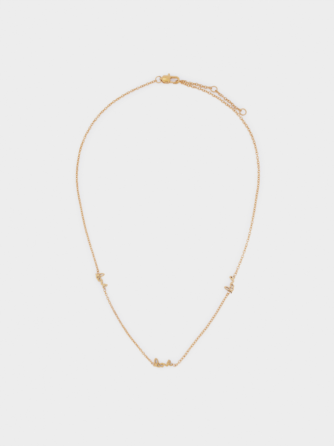 Short Stainless Steel Chain Love Necklace, Golden, hi-res