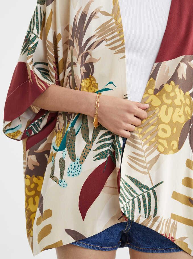Kimono Estampado Hojas, Crudo, hi-res
