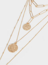 Hoop Fever Set Of Necklaces With Medal Motifs, Golden, hi-res