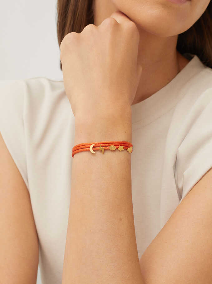 Adjustable Stainless Steel Bracelet With Charms, Orange, hi-res