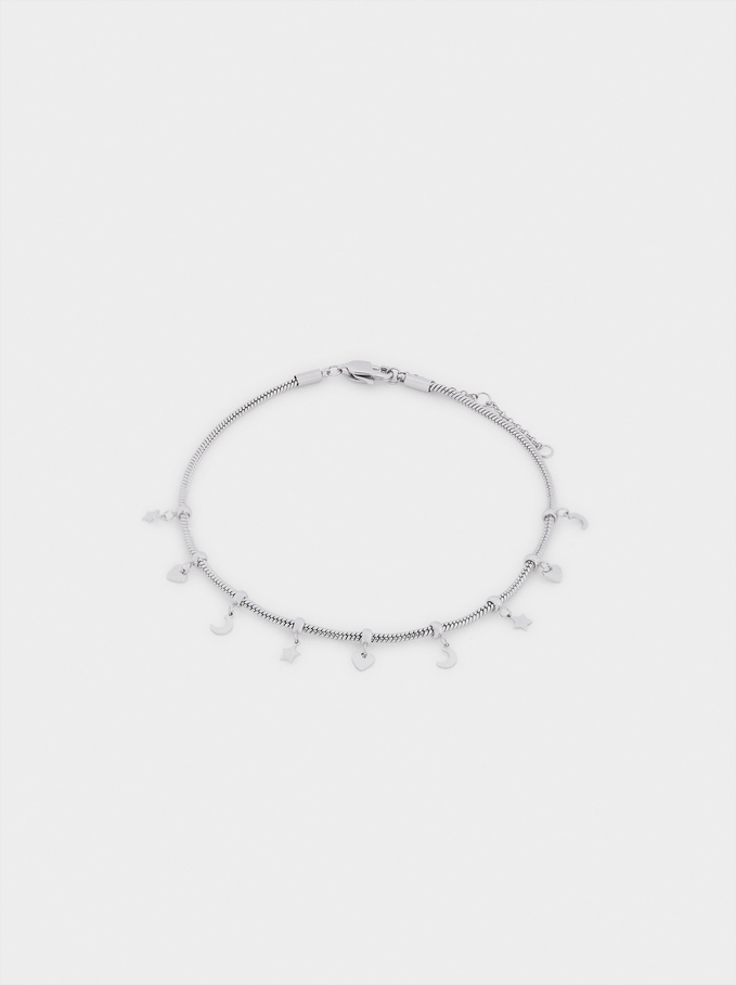 Stainless Steel Anklet Bracelet With Charms, Silver, hi-res