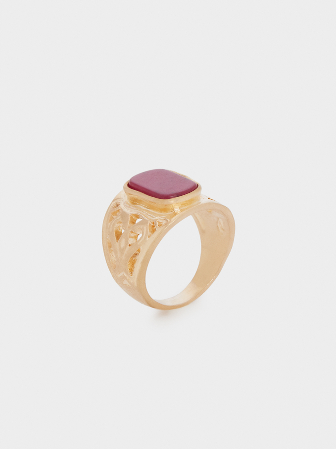 Stone Signet Ring, Red, hi-res