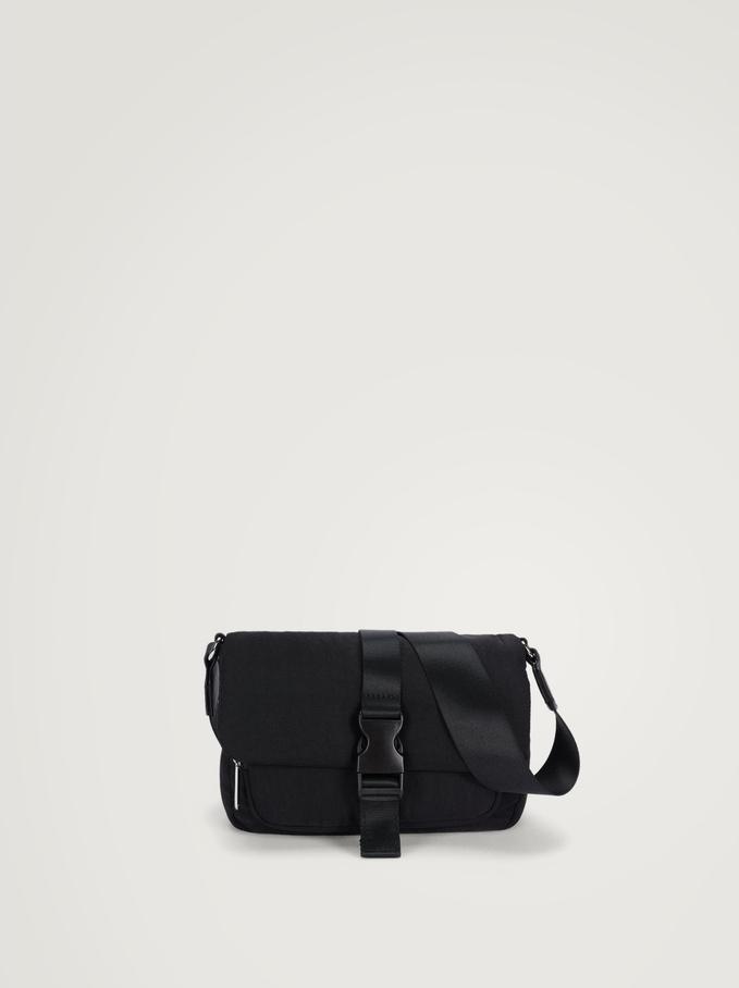 Nylon Crossbody Bag With Buckle, , hi-res