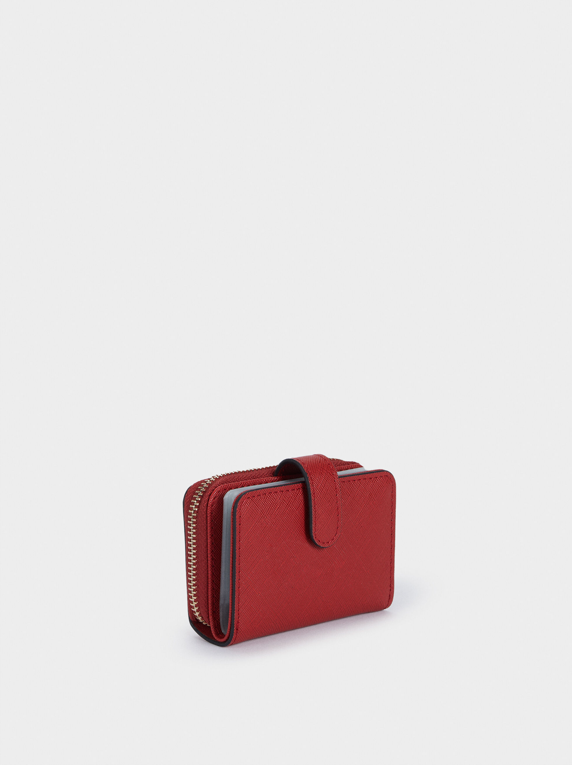 Plain Card Holder Purse, Red, hi-res