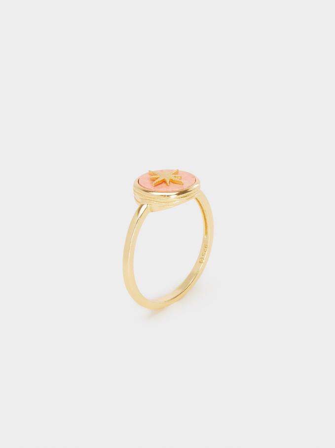 925 Silver Star Ring, Coral, hi-res