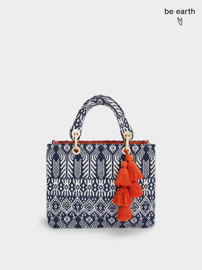 Jacquard Tote Bag With Tassels, Navy, hi-res