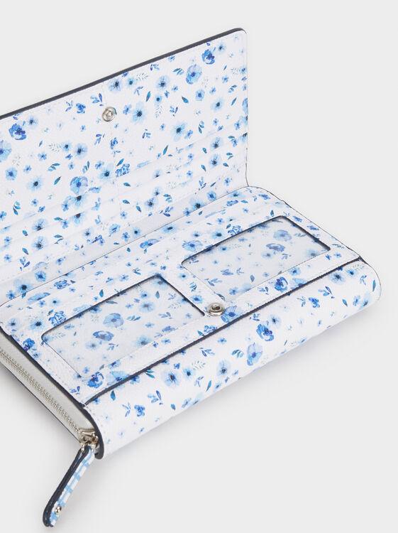 Medium Floral Print Purse, Blue, hi-res